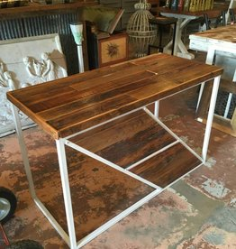 Modern Reclaimed Cypress Desk w/ White Base