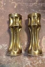 1915 Vintage German Brass Candle Holder Set