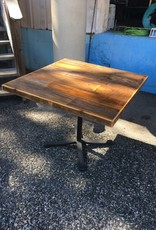 37x37 Reclaimed Cypress Table w/ Iron Base