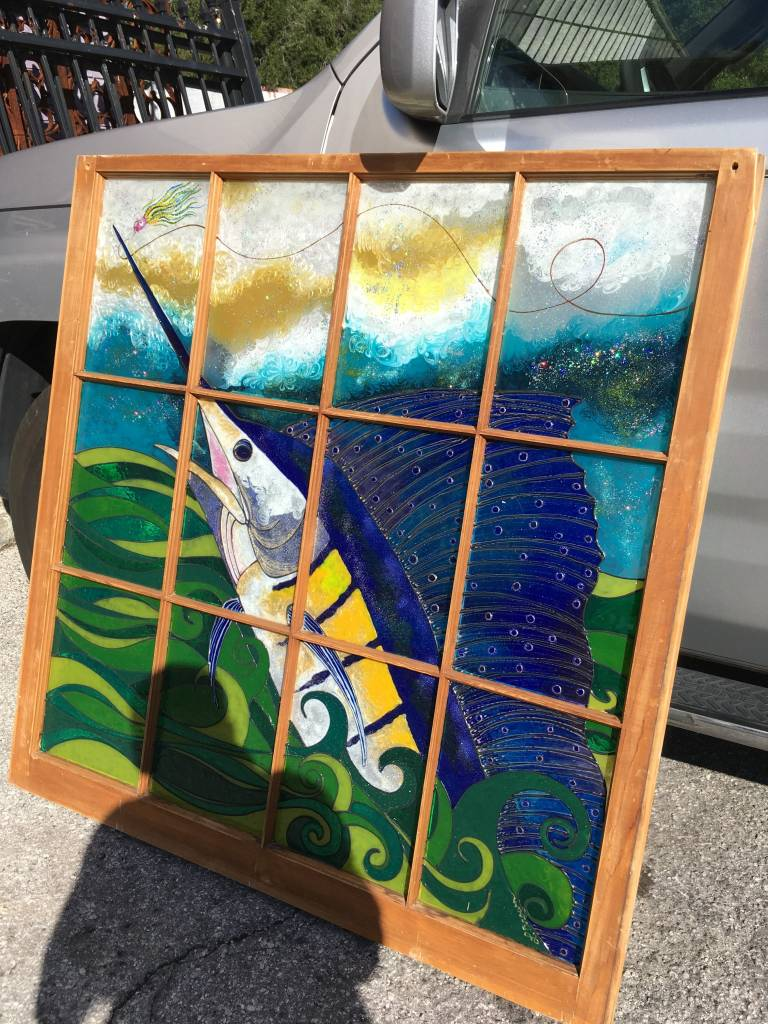 12 Pane Fish Mosaic Window 44x45