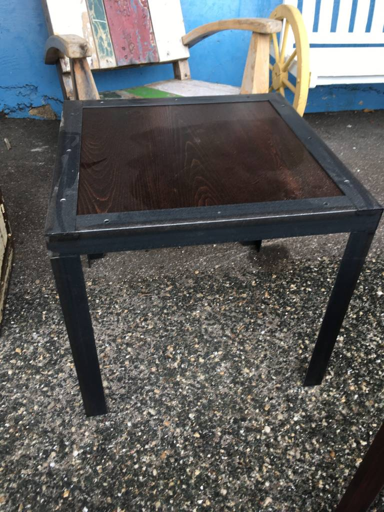 24x24x22 Cypress Table w/ Angle Iron Base