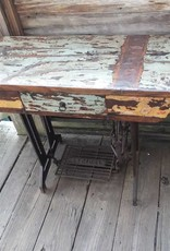 Reclaimed Teak Desk W/ Sewing Machine Base