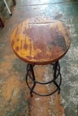 Black Base Round Top Teak Stool
