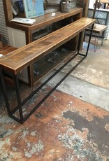 Reclaimed  Angle Panel Cypress Console w/ Iron Base 30x84x10
