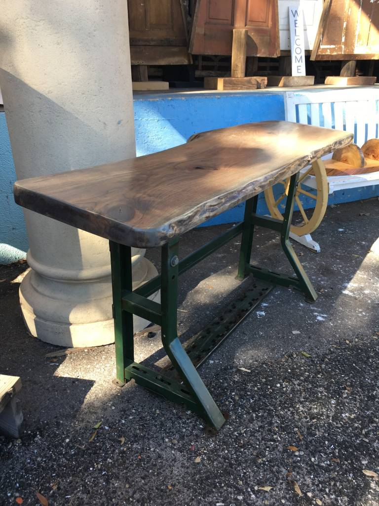 Live Edge Sycamore Table w/ Industrial Base 61x17