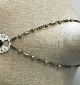 Clock Face w/Pearls Steam Punk Necklace