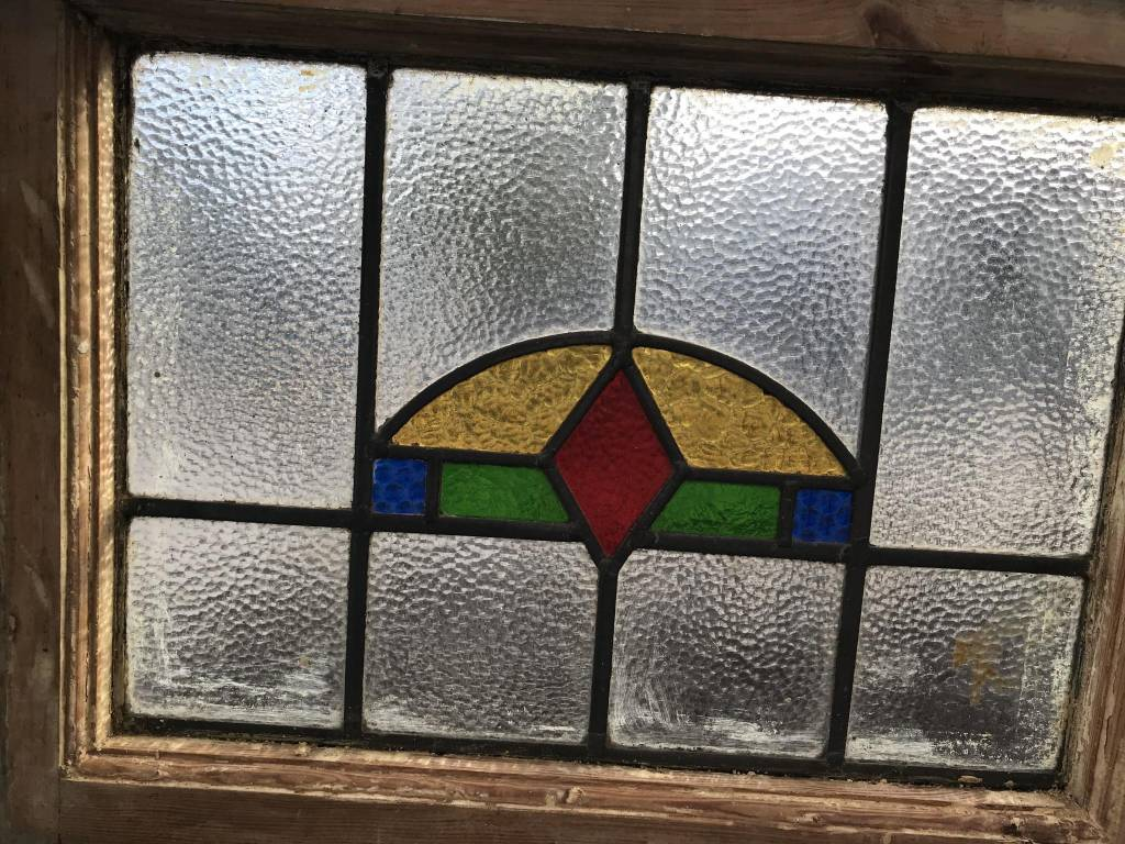 Stained Glass Yellow Half Circle