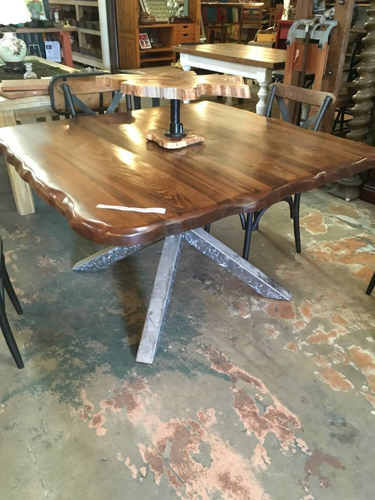 Cypress Live Edge Welded X Trestle Base Table Sarasota - Welded table base