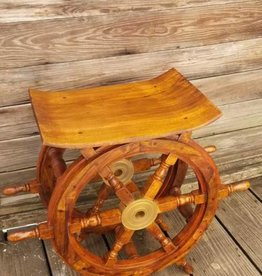 Wood/Brass Shipwheel Table 24""