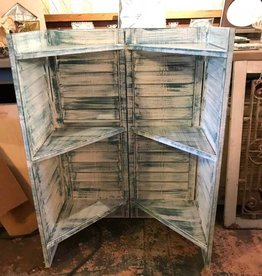 White/Blue Distressed Shutter Shelf