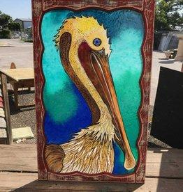 Reclaimed Window Pelican Art