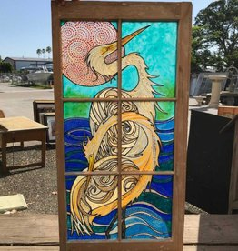 Reclaimed Window Heron Art