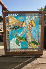 Reclaimed Window Sea Turtle Art