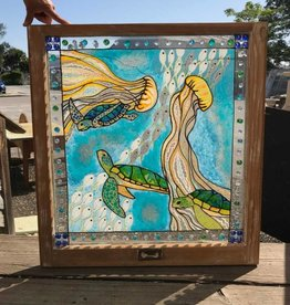Reclaimed Window Sea Turtle Art