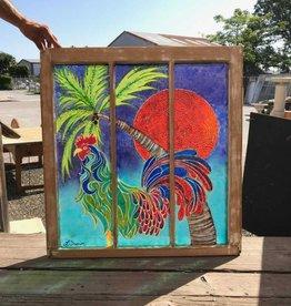 Reclaimed Window Rooster Art