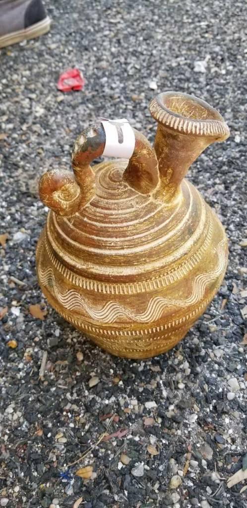 Sm Terracotta Yellow Vase W/ Spout