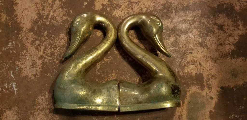 Swan Brass Bookends