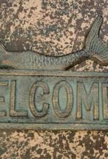 Antique Bronze Iron Mermaid Welcome Plaque