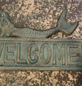 Antique Bronze Iron Mermaid Welcome Plaque