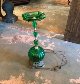 Green Glass Lighted Ashtray