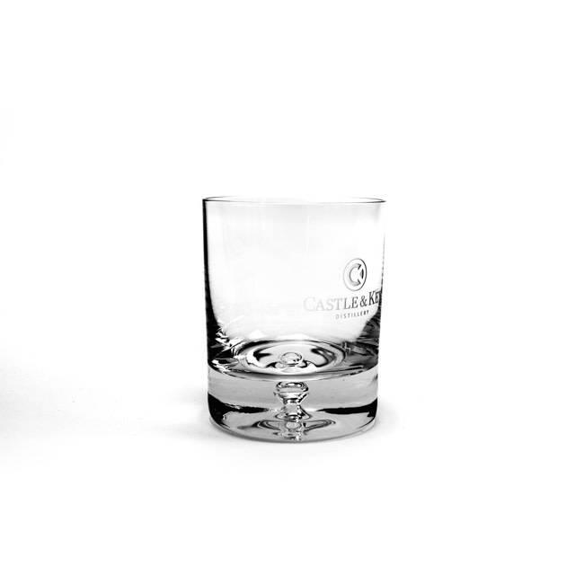 Bubble Logo Rocks Glass