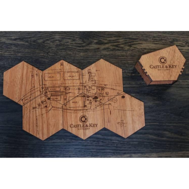 Woodchuck Mahogany C&K Map Coaster Set