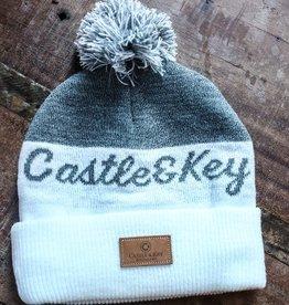 Ivory Heather Knit Pom Pom Hat