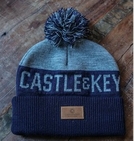 Navy Heather Knit Pom Pom Hat