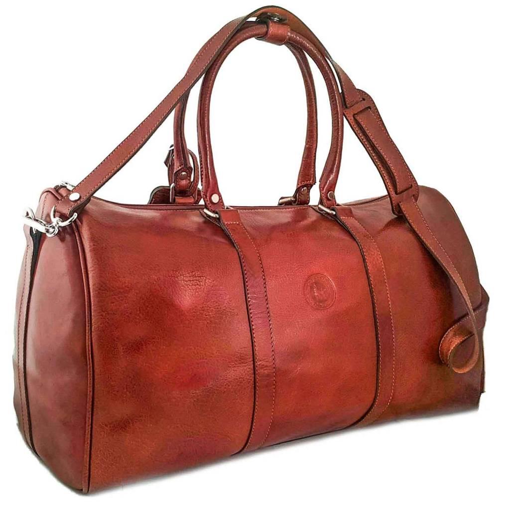 Duffle Bag With Leather Shoulder Strap Cognac