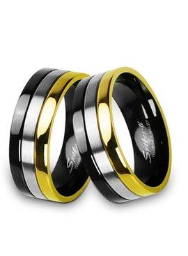 Spikes (TM) Obrączki Tytanowe, trójkolorowe - komplet. Czarno-grafitowo-złote.