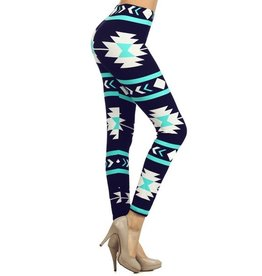 Love It Navy Aztec Leggings - O/S