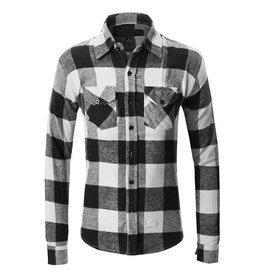 Zexi Plaid Flannel Button Up - Blk/Wht