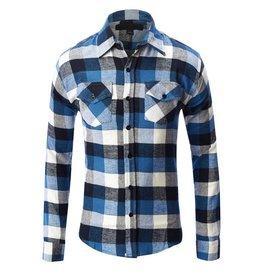 Zexi Plaid Flannel Button-Up - Blue/Wht