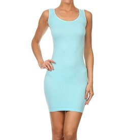 Song & Sol Bodycon Tank Dress O/S - Candy Blue