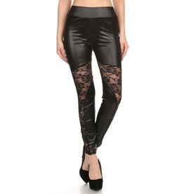 Love It Leather N' Lace Leggings - O/S
