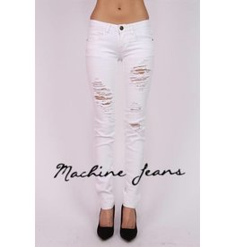 Machine Jeans Distressed Skinny - White