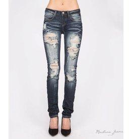 Machine Jeans Distressed Skinny - Dk Wash