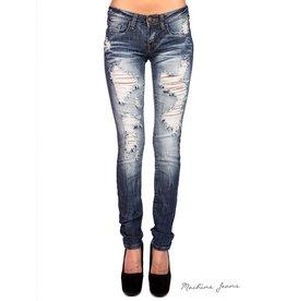 Machine Jeans Distressed Skinny - Med Wash