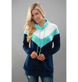 Trend Notes Funnel-Neck Long Sleeve - Navy/Mint