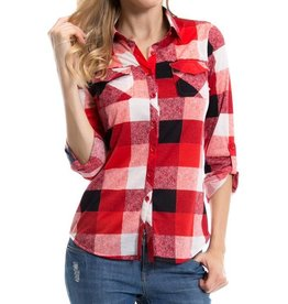 1MadFit Plaid Pocket Long Sleeve Shirt - Red