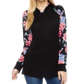 1MadFit Hooded Floral Raglan - Black