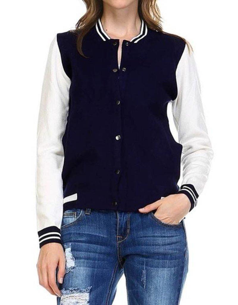 1MadFit Varsity Sweater Jacket - Navy/Wht