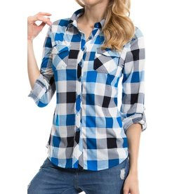 1MadFit Plaid Pocket Long Sleeve Shirt - Blue