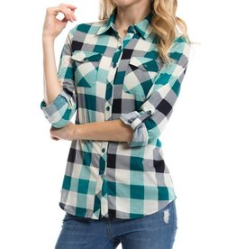 1MadFit Plaid Pocket Long Sleeve Shirt - Jade