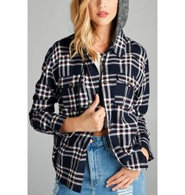1MadFit Hooded Plaid Long Sleeve Shirt
