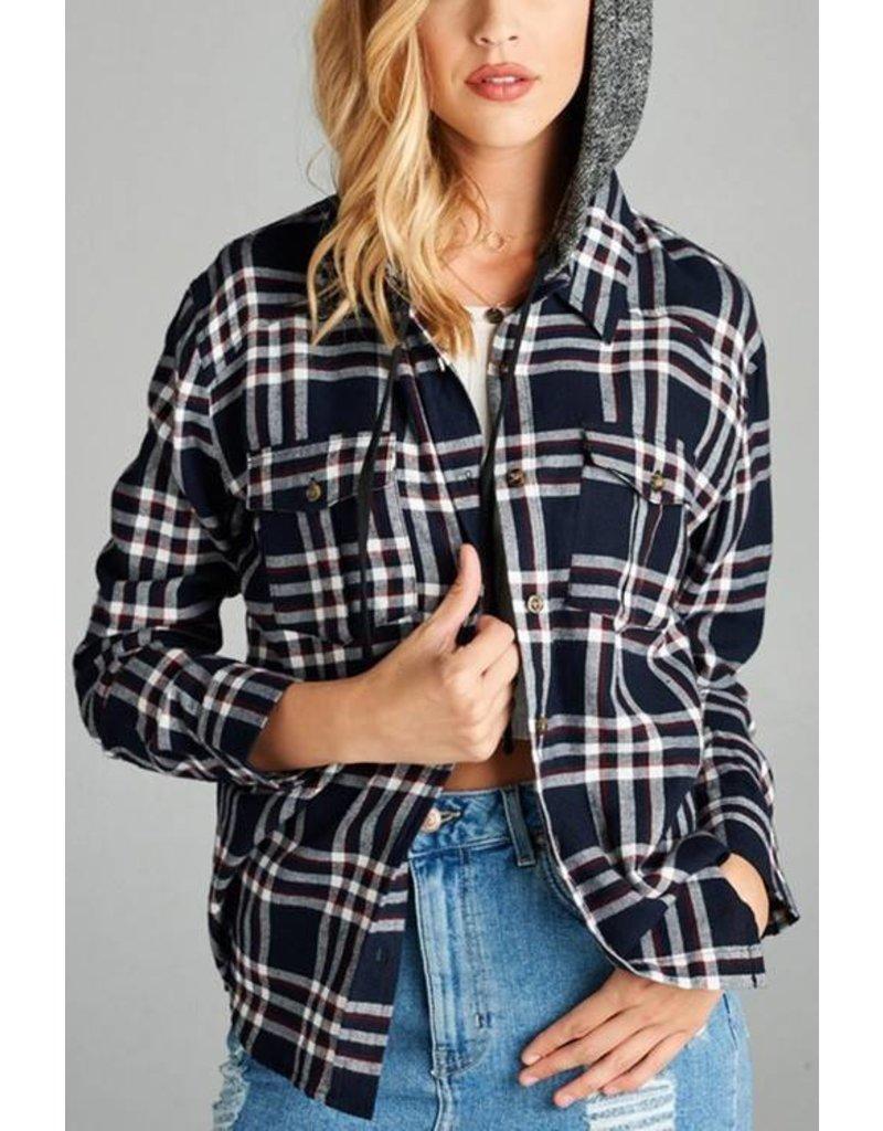 1MadFit Hooded Plaid Long Sleeve Shirt