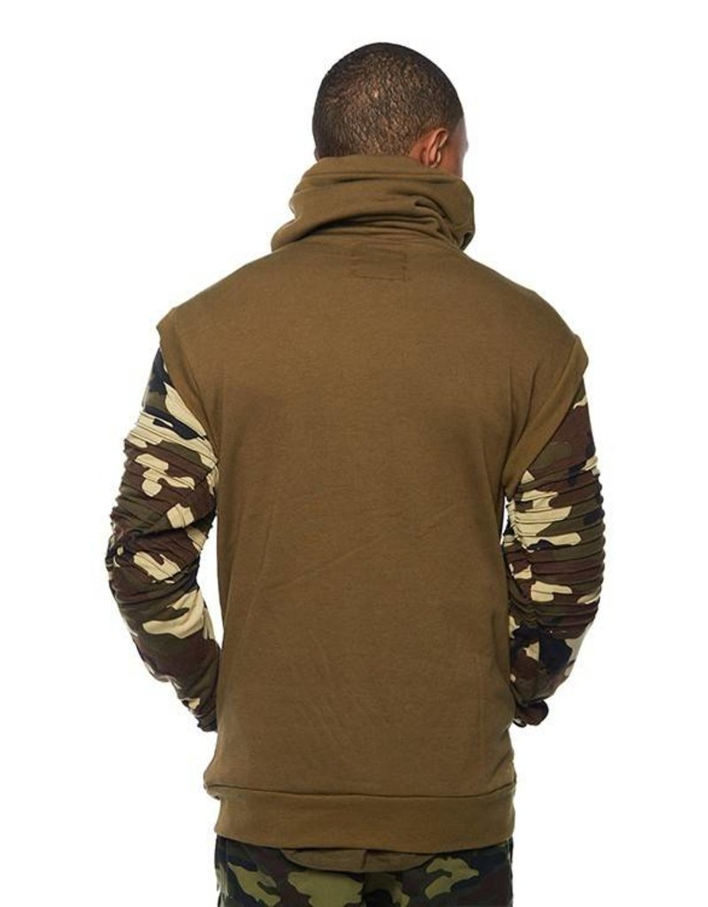 CODEONE Color Block Biker Sweater - Olive/Camo