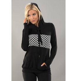 Trend Notes Checkered Pullover Hoodie - Black