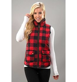 Trend Notes Plaid Padded Vest - Red