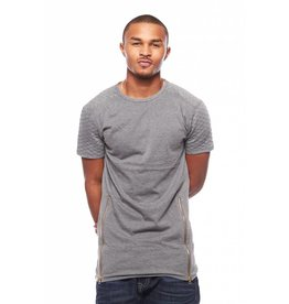 CODEONE Quilted Double Zipper Long Tee - Grey